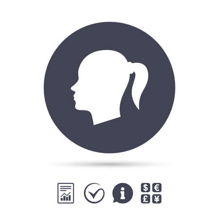Head sign icon. Female woman human head with pigtail symbol. Report document, information and check tick icons. Currency exchange. Vector