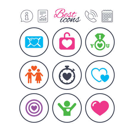 Information, report and calendar signs. Love, valentine day icons. Target with heart, oath letter and locker symbols. Couple lovers, boyfriend signs. Phone call symbol. Classic simple flat web icons