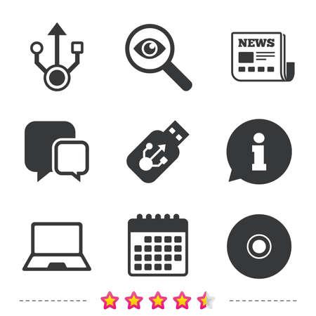 Usb フラッシュ ドライブのアイコン。ノートブックまたはラップトップ pc のシンボル。CD または DVD の符号。コンパクト ディスク。新聞・情報・ カ