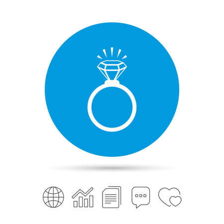 Ring sign icon. Jewelry with shine diamond symbol. Wedding or engagement day symbol. Copy files, chat speech bubble and chart web icons. Vector Illustration