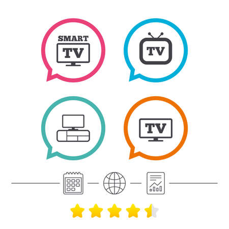 Smart TV mode icon. Widescreen symbol. Retro television and TV table signs. Calendar, internet globe and report linear icons. Star vote ranking. Vector Stock Vector - 80344971