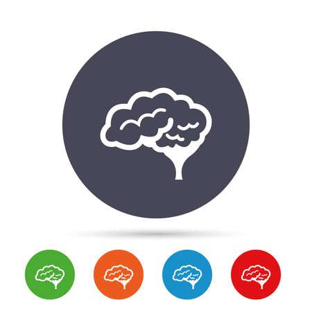 소뇌 기호 아이콘을 가진 두뇌입니다. 인간의 지능형 똑똑한 마음. 플랫 아이콘 라운드 다채로운 단추입니다. 벡터
