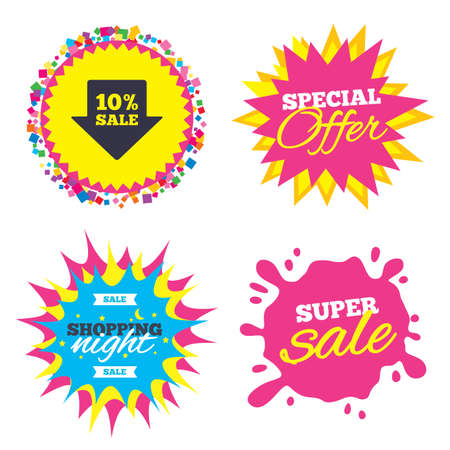 Sale splash banner, special offer star. 10% sale arrow tag sign icon. Discount symbol. Special offer label. Shopping night star label. Vector