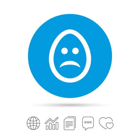 Sad Easter egg face sign icon. Sadness depression chat symbol. Copy files, chat speech bubble and chart web icons. Vector