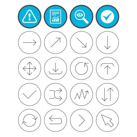 신고하고 진드기와주의 표지판을 확인하십시오. 화살표 아이콘 집합입니다. 기호를 다운로드, 업로드, 확인 또는 체크하십시오. 새로 고침, 전체 화면