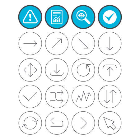 Report, check tick and attention signs. Arrows line icons. Download, upload, check or tick symbols. Refresh, fullscreen and shuffle thin outline signs. Investigate magnifier symbol. Flat buttons Stock Vector - 80343163