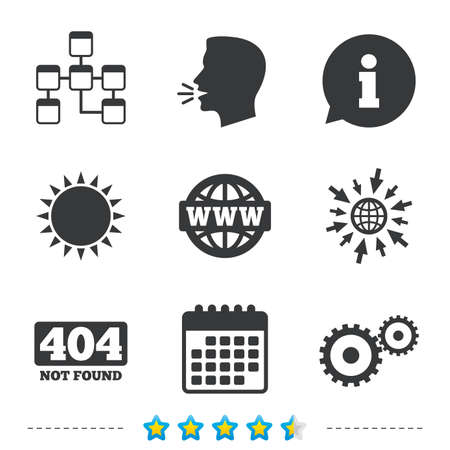 Website database icon. Internet globe and gear signs. 404 page not found symbol. Under construction. Information, go to web and calendar icons. Sun and loud speak symbol. Vector