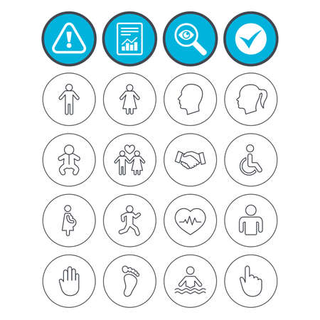 investigating: Report, check tick and attention signs. Human icons. Male and female symbols. Infant toddler and pregnant woman. Wheelchair for disabled. Success deal handshake. Investigate magnifier symbol. Vector