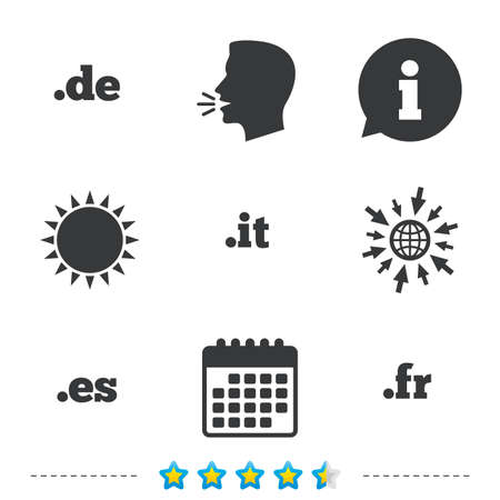 Top-level internet domein pictogrammen. De, It, Es en Fr symbolen. Unieke nationale DNS-namen. Informatie, ga naar web- en kalenderpictogrammen. Zon en luid spreken symbool. Vector Stock Illustratie