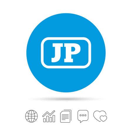 Japanse taal teken pictogram. JP Japan-vertaalsymbool met frame. Kopieer bestanden, praat tekstballonnen en grafiek web iconen. Vector