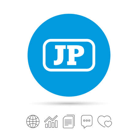 Japanese language sign icon. JP Japan translation symbol with frame. Copy files, chat speech bubble and chart web icons. Vector Illustration