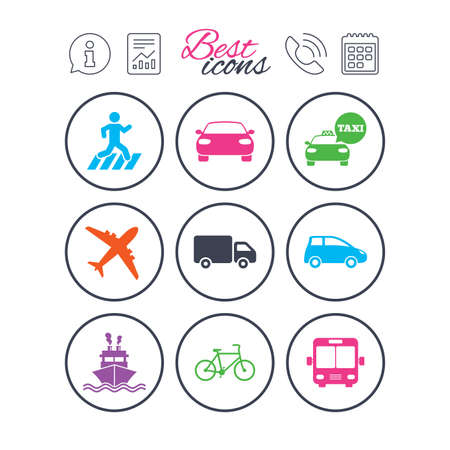 Information, report and calendar signs. Transport icons. Car, bike, bus and taxi signs. Shipping delivery, pedestrian crossing symbols. Phone call symbol. Classic simple flat web icons. Vector