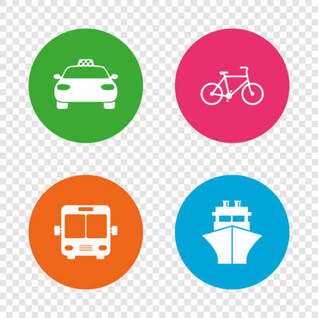 Transport icons. Taxi car, Bicycle, Public bus and Ship signs. Shipping delivery symbol. Family vehicle sign. Round buttons on transparent background. Vector