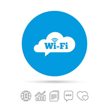 Free wifi sign. Wifi symbol. Wireless Network icon. Wifi zone. Copy files, chat speech bubble and chart web icons. Vector Illustration