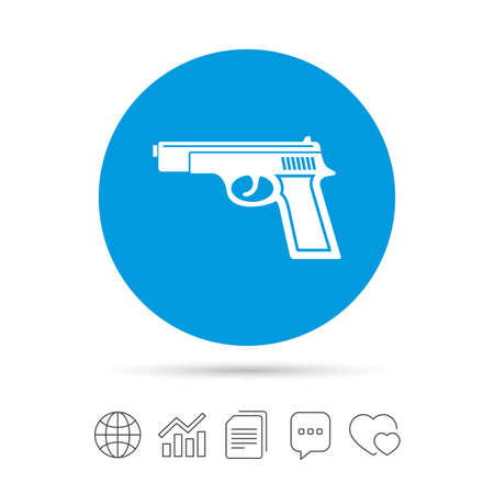 Gun sign icon. Firearms weapon symbol. Copy files, chat speech bubble and chart web icons. Vector