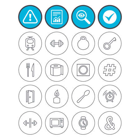 Report, check tick and attention signs. Universal icons. Fitness dumbbell, home key and candle. Toilet paper, knife and fork. Microwave oven. Investigate magnifier symbol. Flat buttons. Vector