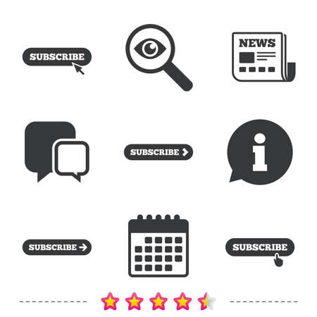 Subscribe icons. Membership signs with arrow or hand pointer symbols. Website navigation. Newspaper, information and calendar icons. Investigate magnifier, chat symbol. Vector