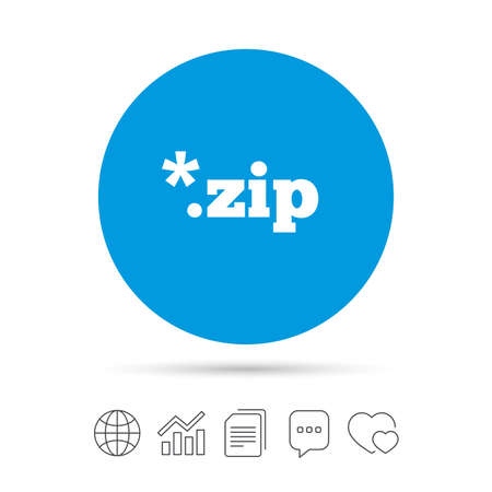 Archive file icon. Download compressed file button. ZIP zipped file extension symbol. Copy files, chat speech bubble and chart web icons. Vector Illustration
