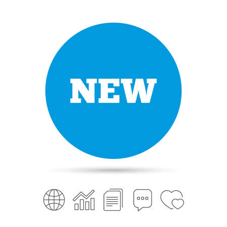New sign icon. New arrival button symbol. Copy files, chat speech bubble and chart web icons. Vector