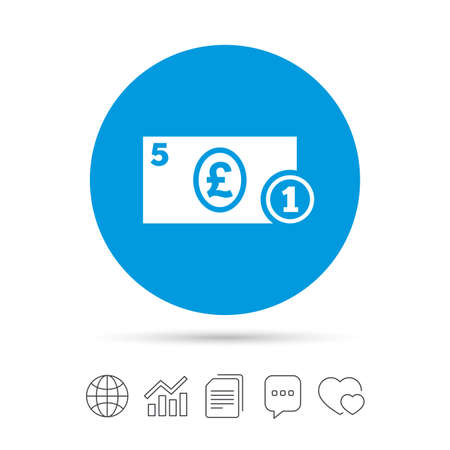 現金は記号アイコンです。ポンドのお金のシンボル。ポンド硬貨と紙幣。ファイルのコピー、音声バブルとグラフ web アイコンをチャットします。ベ  イラスト・ベクター素材