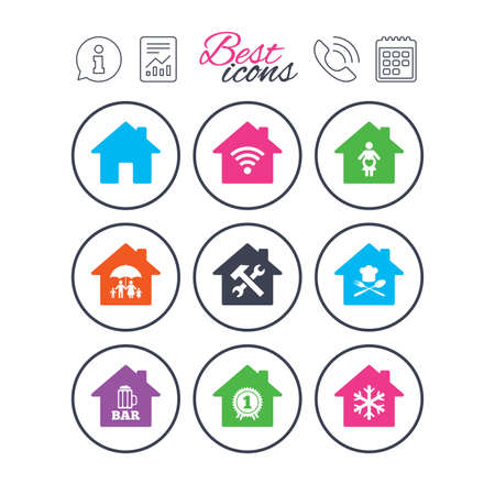 Information, report and calendar signs. Real estate icons. Home insurance, maternity hospital and wifi internet signs. Restaurant, service and air conditioning symbols. Phone call symbol. Vector