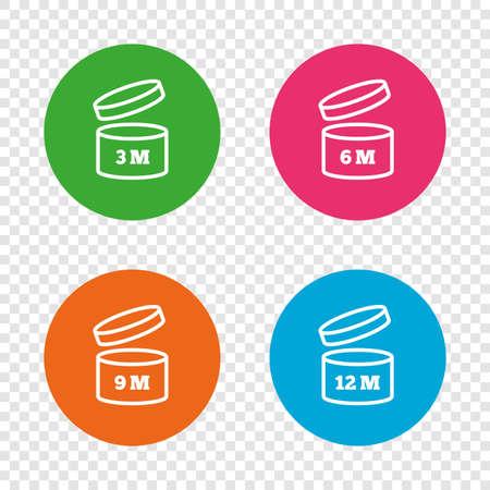 開封後のアイコンを使用します。製品の 6-12 ヶ月有効期限では、シンボルを署名します。食料品項目の貯蔵寿命。透明の背景上の丸いボタン。ベク  イラスト・ベクター素材