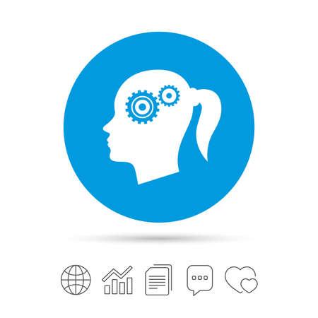 歯車記号アイコンで頭します。女性の人間の頭では、シンボルだと思います。ファイルのコピー、音声バブルとグラフ web アイコンをチャットします