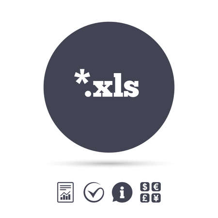 Excel file document icon. Download xls button. XLS file extension symbol. Report document, information and check tick icons. Currency exchange. Vector