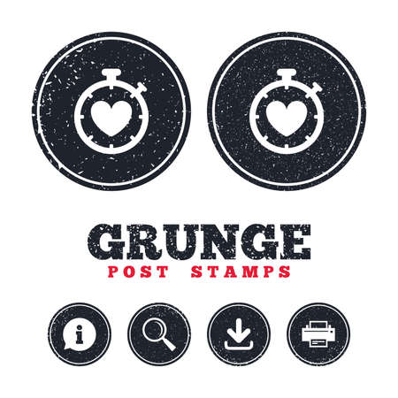 Grunge post stamps. Heart Timer sign icon. Stopwatch symbol. Heartbeat palpitation. Information, download and printer signs. Aged texture web buttons. Vector