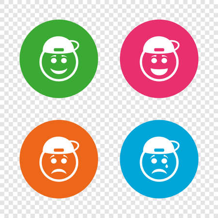Rapper smile face icons. Happy, sad, cry signs. Happy smiley chat symbol. Sadness depression and crying signs. Round buttons on transparent background. Vector
