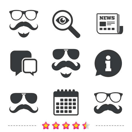 investigating: Mustache and Glasses icons. Hipster with beard symbols. Facial hair signs. Newspaper, information and calendar icons. Investigate magnifier, chat symbol. Vector