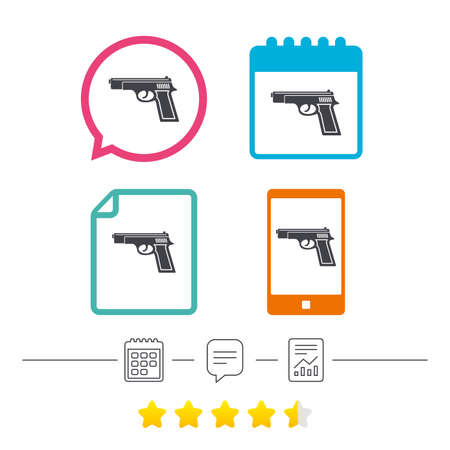 smartphone apps: Gun sign icon. Firearms weapon symbol. Calendar, chat speech bubble and report linear icons. Star vote ranking. Vector Illustration