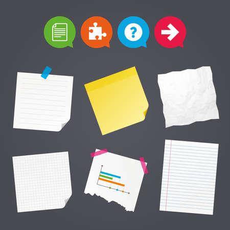 Zakelijke papieren banners met notities. Vraagteken en puzzel stukjes iconen. Documentbestand en volgende pijltekensymbolen. Kleverige kleurrijke tape. Tekstballonnen met pictogrammen. Vector