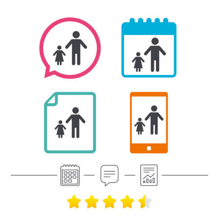 One-parent family with one child sign icon. Father with daughter symbol. Calendar, chat speech bubble and report linear icons. Star vote ranking. Vector