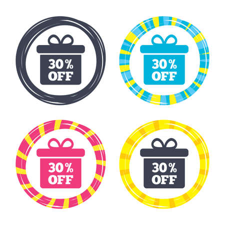 30% sale gift box tag sign icon. Discount symbol. Special offer label. Colored buttons with icons. Poker chip concept. Vector 向量圖像