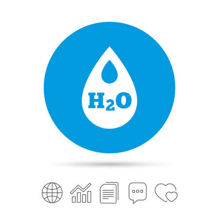 H2O Water drop sign icon. Tear symbol. Copy files, chat speech bubble and chart web icons. Vector
