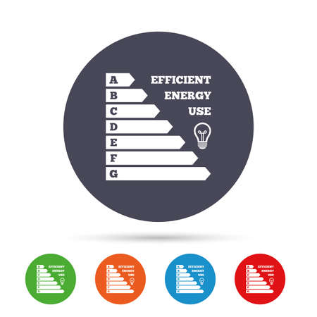 Energy efficiency icon. Electricity consumption symbol. Idea lamp sign. Round colourful buttons with flat icons. Vector