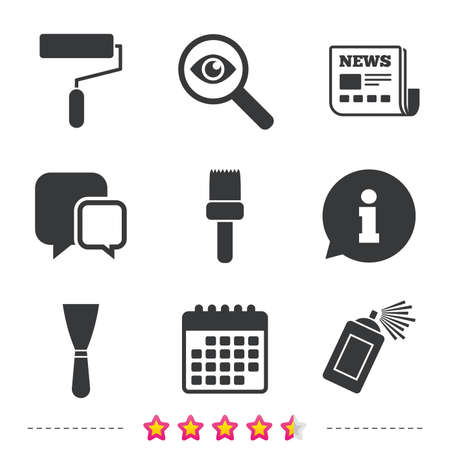 Paint roller, brush icons. Spray can and Spatula signs. Wall repair tool and painting symbol. Newspaper, information and calendar icons. Investigate magnifier, chat symbol. Vector