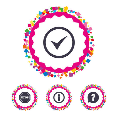inform information: Web buttons with confetti pieces. Information icons. Stop prohibition and question FAQ mark speech bubble signs. Approved check mark symbol. Bright stylish design. Vector