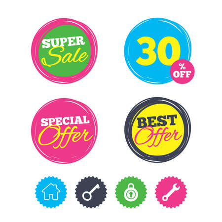 Super sale and best offer stickers. Home key icon. Wrench service tool symbol. Locker sign. Main page web navigation. Shopping labels. Vector 向量圖像