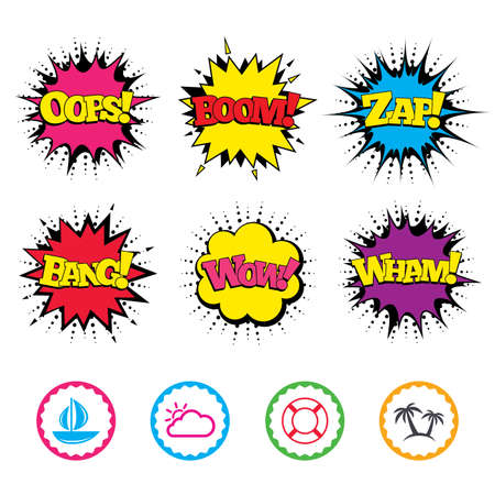 Comic Wow, Oops, Boom and Wham sound effects. Travel icons. Sail boat with lifebuoy symbols. Cloud with sun weather sign. Palm tree. Zap speech bubbles in pop art. Vector
