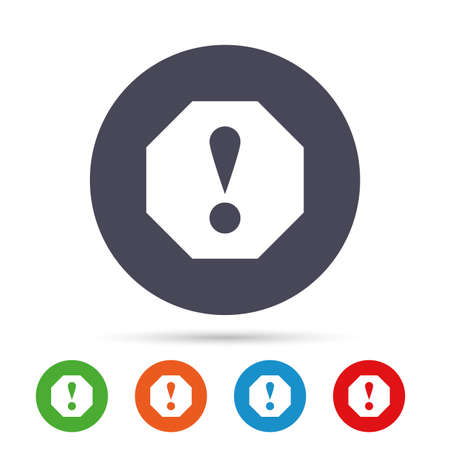 hazard: Attention sign icon. Exclamation mark. Hazard warning symbol. Round colourful buttons with flat icons. Vector