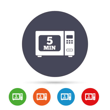 Cook in microwave oven sign icon. Heat 5 minutes. Kitchen electric stove symbol. Round colourful buttons with flat icons. Vector Ilustração