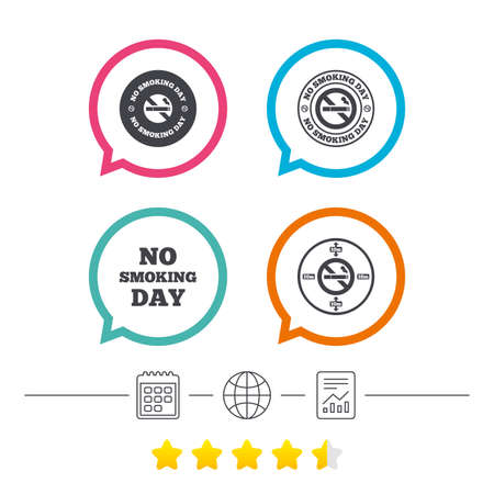 No smoking day icons. Against cigarettes signs. Quit or stop smoking symbols. Calendar, internet globe and report linear icons. Star vote ranking. Vector