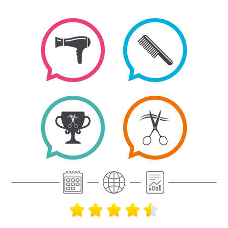 Hairdresser icons. Scissors cut hair symbol. Comb hair with hairdryer symbol. Barbershop winner award cup. Calendar, internet globe and report linear icons. Star vote ranking. Vector