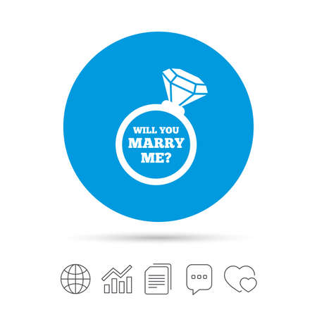 Will you marry me ring sign icon. Engagement symbol. Copy files, chat speech bubble and chart web icons. Vector