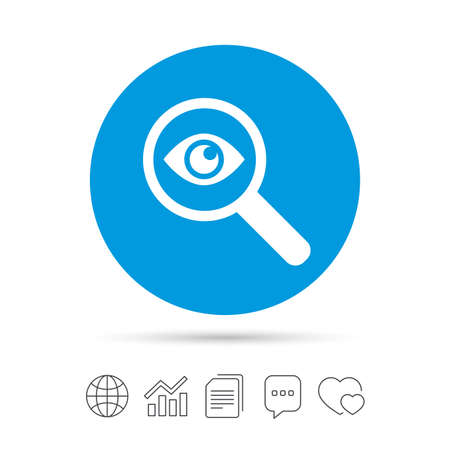 Investigate icon. Magnifying glass with eye symbol. Copy files, chat speech bubble and chart web icons. Vector