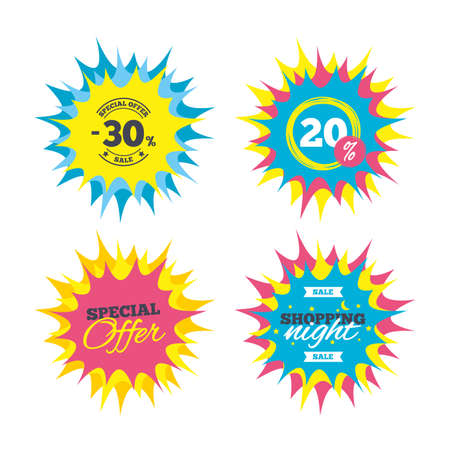 Shopping offers, special offer banners. 30 percent discount sign icon. Sale symbol. Special offer label. Discount star label. Vector