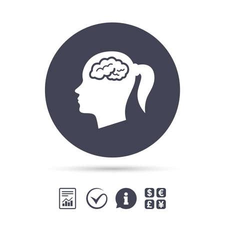 Kopf mit Gehirn Zeichen Symbol. Weiblicher Frauenmenschkopf denken Symbol. Dokumente, Informationen und Häkchen anzeigen. Geldwechsel. Vektor Standard-Bild - 80345044