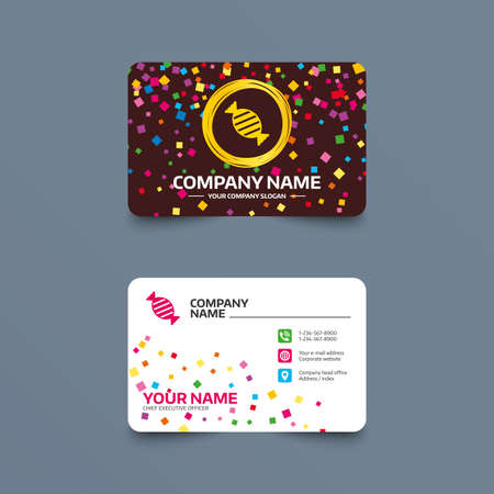 Business card template with confetti pieces. Candy icon. Sweet food sign. Phone, web and location icons. Visiting card  Vector
